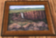 Rocky-Mt-Champagne-waterfall pastel-Lindy-Cook Severns framed