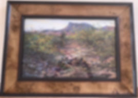 pastel desert landscape painting framed in burled wood Lindy Cook Severns art