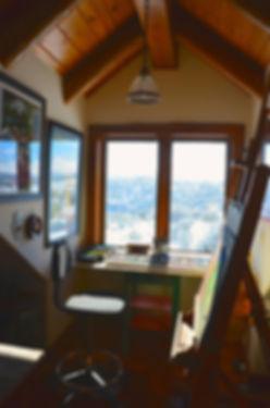 pastel sticks and easel at window studio space ginger lemons