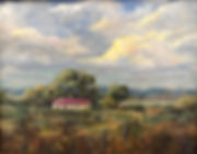 red roofed ranch house clouds and fenceposts oil painting Margaret Heath