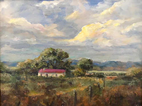 red roofed ranch house trees fence sky landscape painting