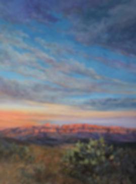 Big Bend desert sunset vertical oil painting Lindy Cook Severns