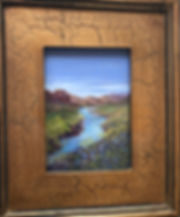 bluebonnets along the Rio Grande framed in gold Lindy Cook Severns art