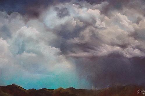 thunderstorm over desert pastel landscape painting Ginger Lemons