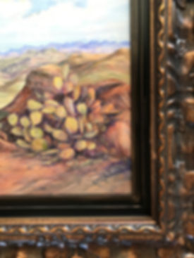 prickly pear cactus and frame detail in oil painting by Lindy Cook Severns