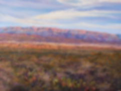 prickly pear and colored desert mountains pastel landscape painting Infinitely Texas by Lindy Cook Severns