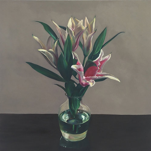 pink and white lilies in vase oil painting by Nicole Miller Saffery