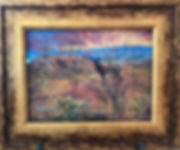 Antique gold framed landscape painting of a burro in a desert sunset by Lindy Cook Severns art