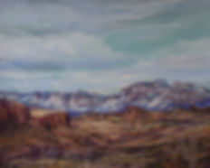 mountains in snow with desert mesas and winter sky pastel painting rio grande Lindy Cook Severns art