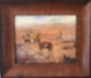 pronghorn antelope on golden prairie oil painting by Lindy C Severns