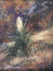 Blossoming yucca in west Texas woodland painting