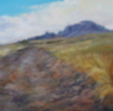rocky road to Chinati Peak original mini oil painting by Texas artist Lindy Cook Severns