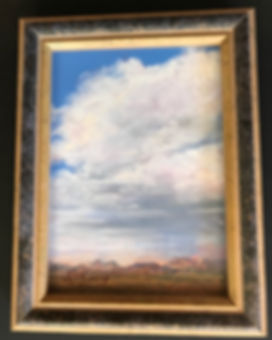 framed landscape painting clouds and mountains Lindy C Severns art
