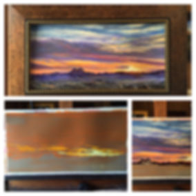 three stages of a Lindy Cook Severns pastel landscape painting a vivid sunset over Alpines Twin Peaks