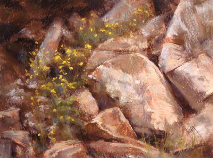 Yellow flowers sprinkled thru rocks pastel landscape by Dina Gregory