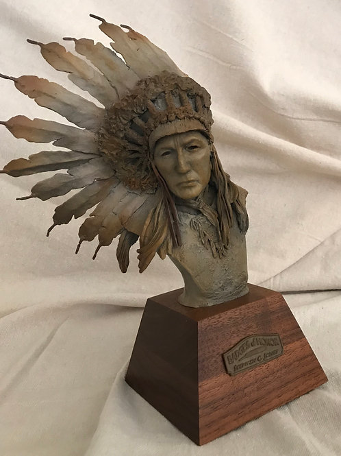 Native American chieftain with feathered headdress bronze Stephen G Jones