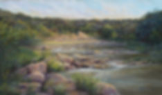Dawn light shimmers across a Texas river in this landscape painting by Lindy Cook Severns, Crossing at Dawn 14x24 pastel