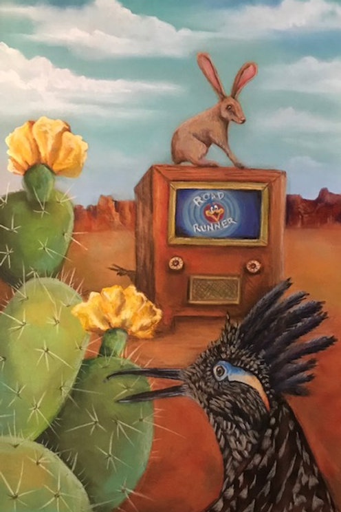 painting yellow cactus flowers and old tv with roadrunner and jackrabbit