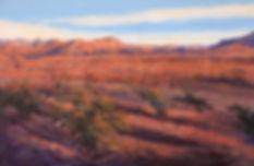 red desert floor at sunset big bend national park landscape painting by Lindy Cook Severns art