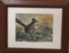 wood frame on watercolor roadrunner painting