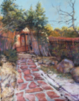 Adobe and snowy stepping stones at Bishops Lodge Santa Fe original pastel painting Lindy Cook Severns Art