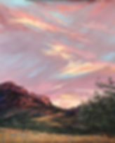 lilac peach and yellow sunset on Texas mts landscape painting by Lindy Cook Severns