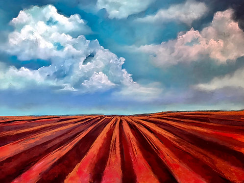plowed red earth and clouds painting
