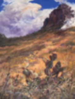 cloud wrapping desert mountain with golden grass and cactus pastel painting by Lindy Cook Severns