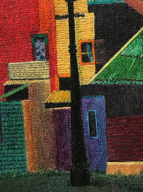 primary colored buildings thread painting by Anne Eckley