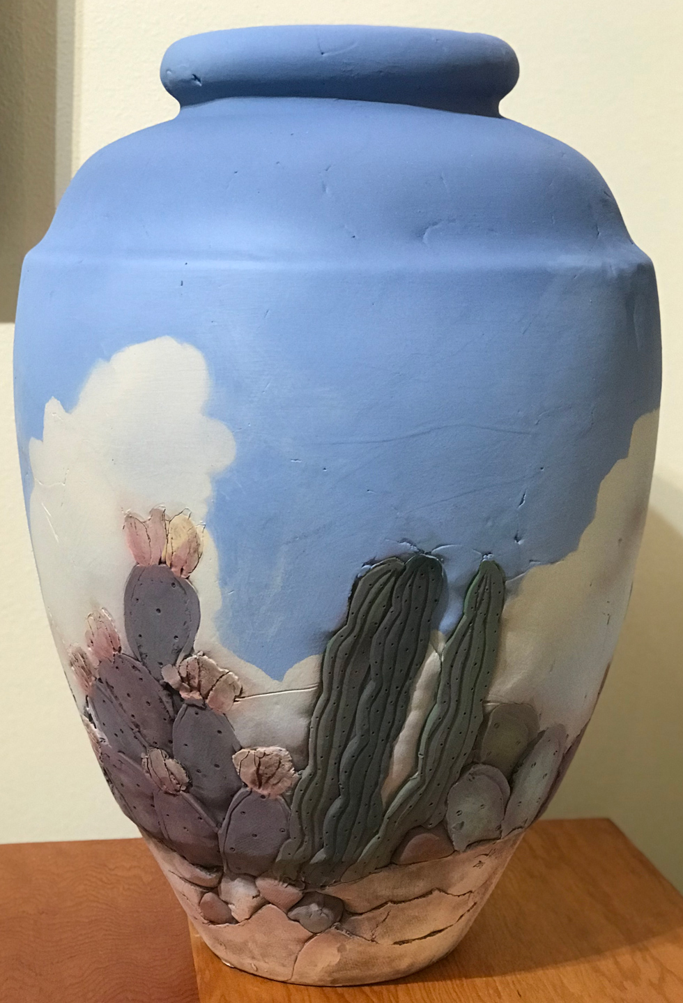 Texas Sky and Cactus Tall Vase