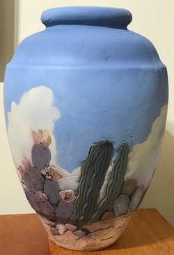 Texas Sky and Cactus Tall Vase