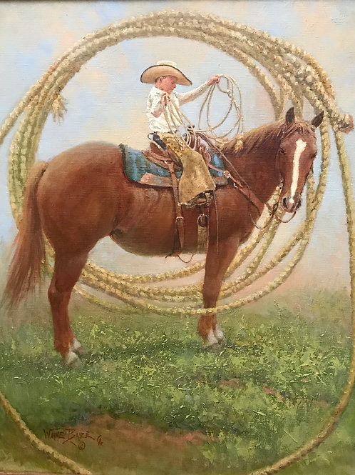little boy in cowboy hat on horse roping oil painting