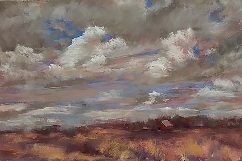 clouds over grassy plains landscape painting
