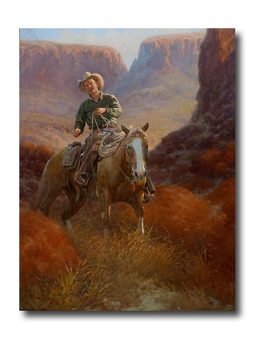 cowboy on horse through canyon oil painting