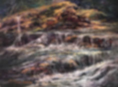 waterfalls over golden moss boulders painting Lindy C Severns