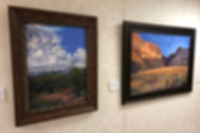 two southwest landscape paintings by Texas artist Lindy Cook Severns at Sibley Nature Center Midland TX