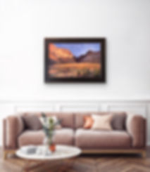 golden light on desert canyon Lindy Cook Severns oil painting over sofa