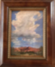 Thunderhead and red Texas canyon framed mini painting by Lindy Cook Severns art