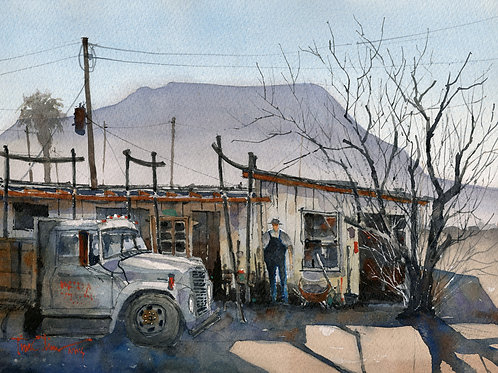 tumbled down old building, truck in Terlingua watercolor by Tim Oliver