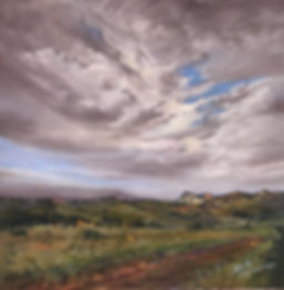 cloudy blue sky over summer pasture and white mountain pastel painting