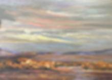 yellow cottonwoods in desert dawn oil painting