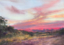 rosy sunrise  on high desert mountains dirt ranch road original pastel painting lindy cook severns art