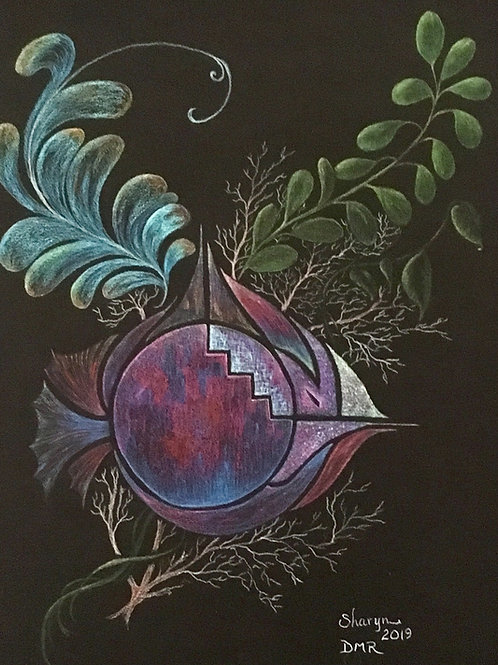 purple fantasy fish drawing