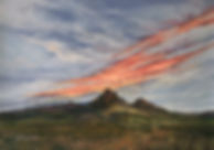 splashy red cloud at sunrise over Texas mt Mitre Peak pastel by Lindy Cook Severns