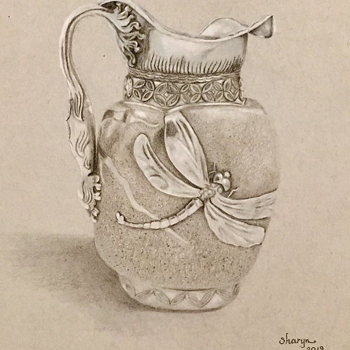 silver pitcher with dragonfly colored pencil drawing
