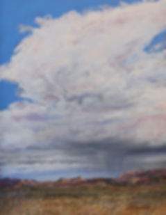 towering thunderstorm over peach colored mts and ochre grassland landscape painting by lindy cook severns art