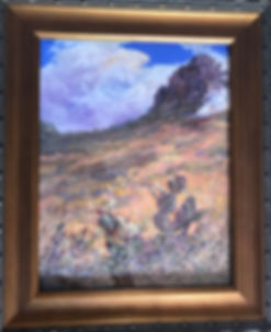 framed landscape with cactus clouds and cliff