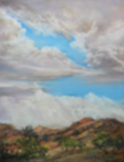 billowing rain clouds over gold and russet ranchland original pastel painting by Lindy Cook Severns art