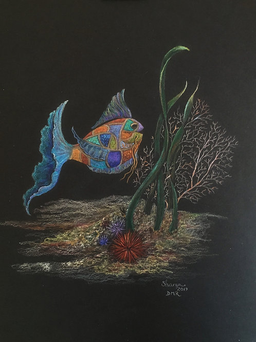 fantasy fish with patchwork fins drawing