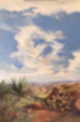 towering white clouds over desert cactus and canyons oil painting by Lindy Cook Severns